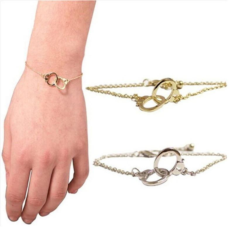 Pulseras de esposas doradas BFF Friends, brazaletes de esposas de pareja, doble conjunto de pulseras de esposas de crimen, regalo BFF