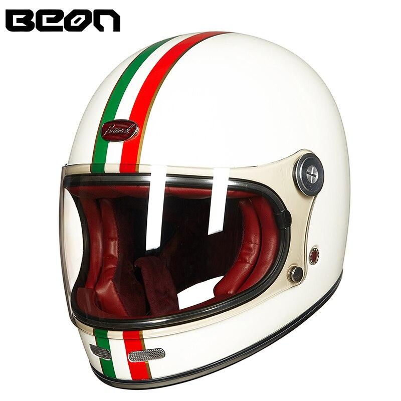 Beon capacete de fibra vidro cheio capacete motocross da motocicleta do vintage capacetes profissionais retro ultraleve ece capacete B-510