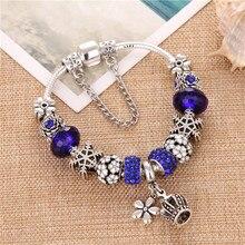 ChangBizi Flower&Crown Pendant Blue Crystal Zircon Charms DIY Fashion Cute Elegant Pand Bracelets & Bangles For Women Gift