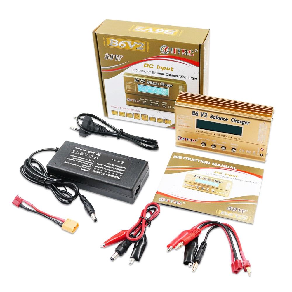HTRC Imax B6 V2 80W 6A cargador de Balance de batería RC LiIon/vida/NiCd/NiMH/alto/LiHV/cargador de energía de batería + 15V 6A adaptador de CA