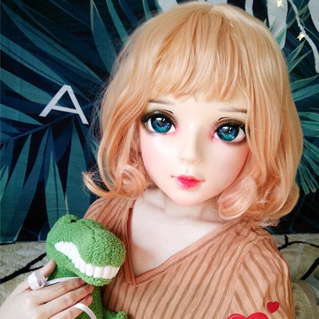 Feminino Doce Menina Resina Meia Cabeça Kigurumi Bjd Máscara Cosplay Anime Japonês Papel Lolita Boneca Crossdress Shi-06