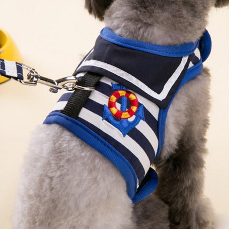 HOT SALE Breathable Navy Style Dog Harness Leash Dog Chest Strap Vest Clothes Stripe Chihuahua Yorkshire perro gato correa XS-XL