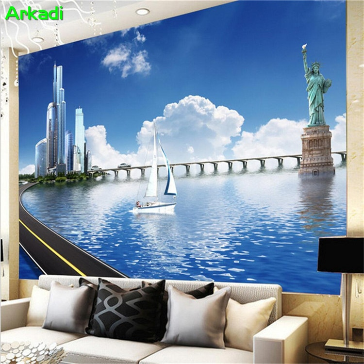 Fondo de pared de nube blanca y cielo azul de playa con paisaje urbano Simple moderno papel tapiz 3d para sala de estar sofá Mural de pared personalizado