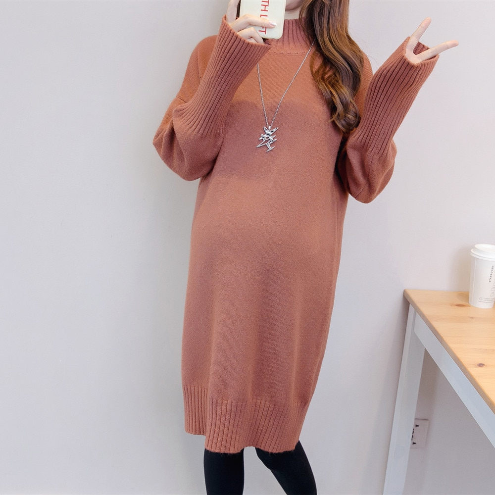 Maternity Long Coats Autumn Winter Fashion Pregnant Women Knitted Sweater Loose Thicken Clothes Outwear Clothes for Pregnancy