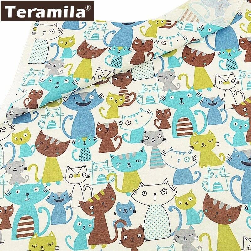 Teramila Textile 100% coton blanc   Matériau de couture Style chats gris et bleu, tissu mètre Tela Algodon, Tecido