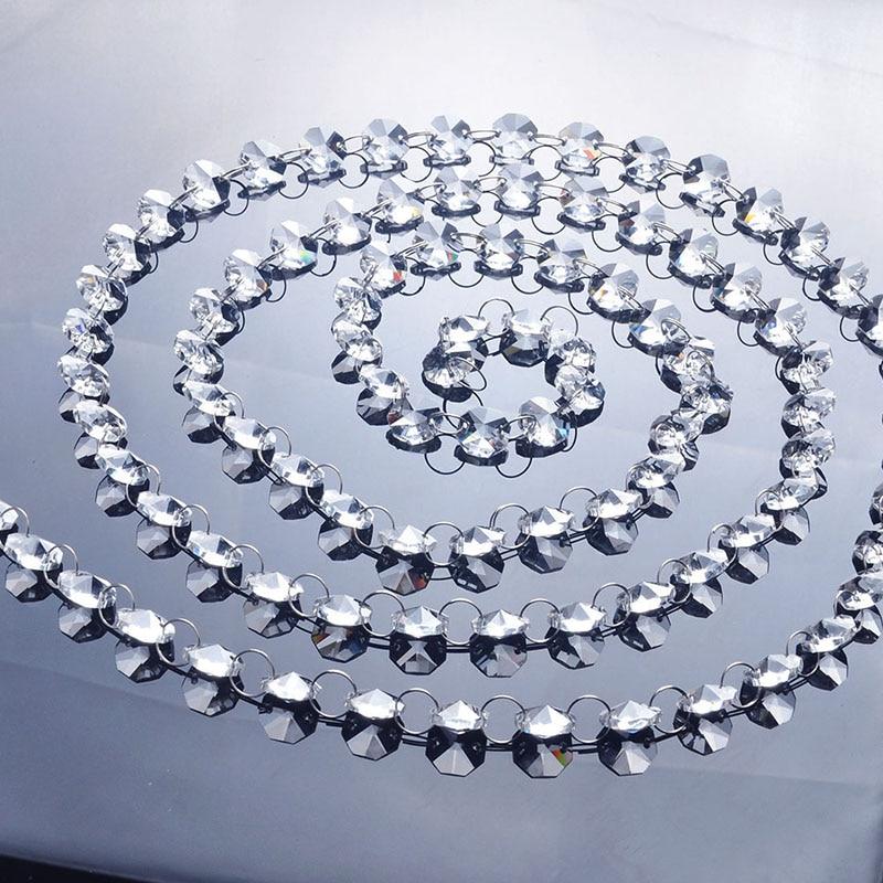 Clear Bead Chain 215cm Crystal DIY Iridescent Garland 14MM Crystal Bead Strand Octagonal home window Party Wedding Decoration