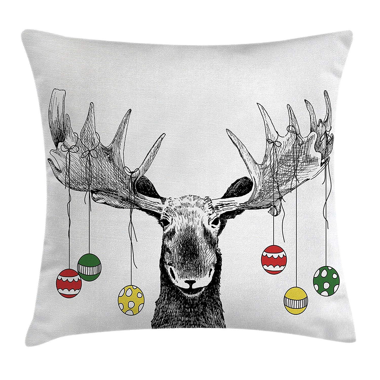 Funda de almohada navideña con diseño de alce y bolas colgantes de cuernos decorativas para Navidad