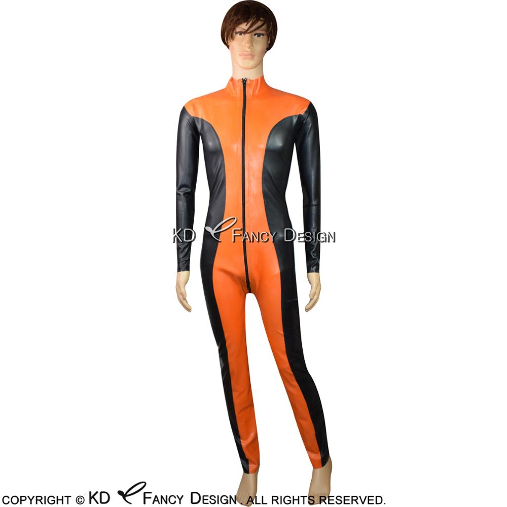 Латексный комбинезон, черный с оранжевым, с молнией спереди до паха, резиновый боди, комбинезон, боди, LTY-0054