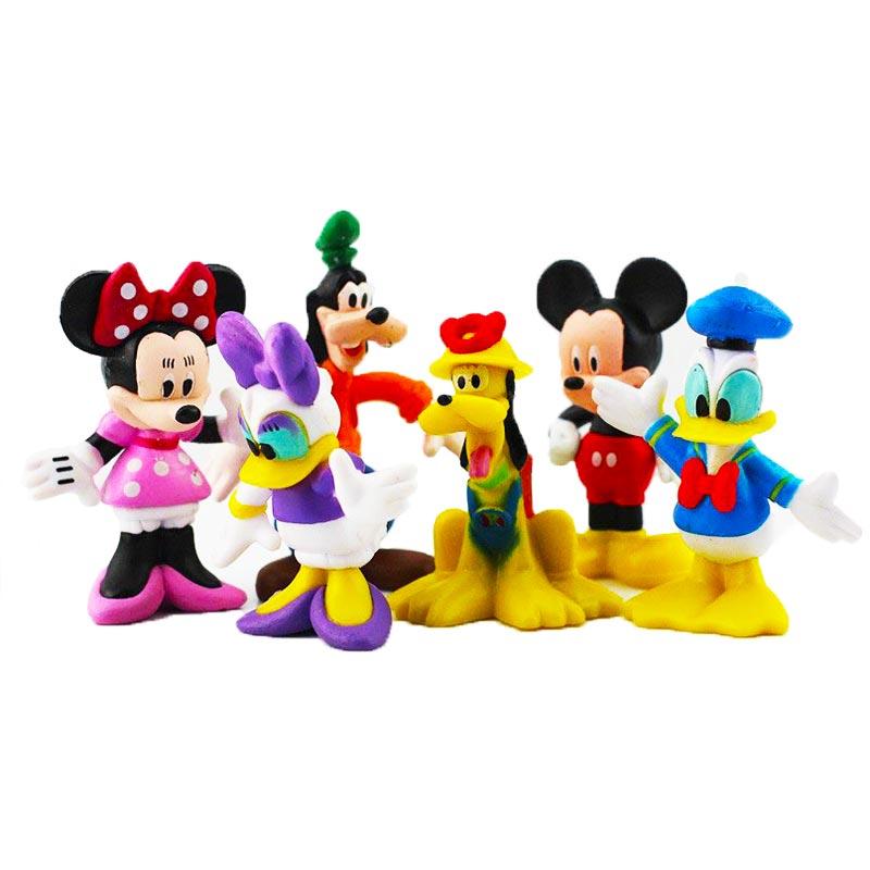6 unids/lote figuras de Mickey Minnie Mouse Pato Donald Goofy perro Pluto Daisy dibujos animados PVC figura juguete de modelo de colección muñecas 6-8cm