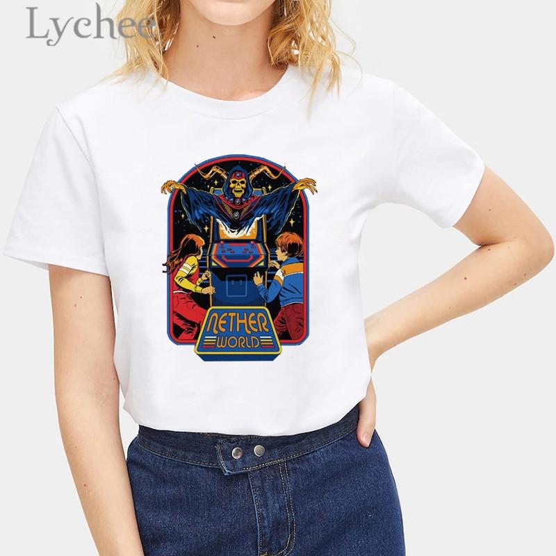 Lychee Harajuku Devil imprimir camisetas femeninas Top Camisetas cuello redondo manga corta suelta verano primavera mujeres camisetas Top