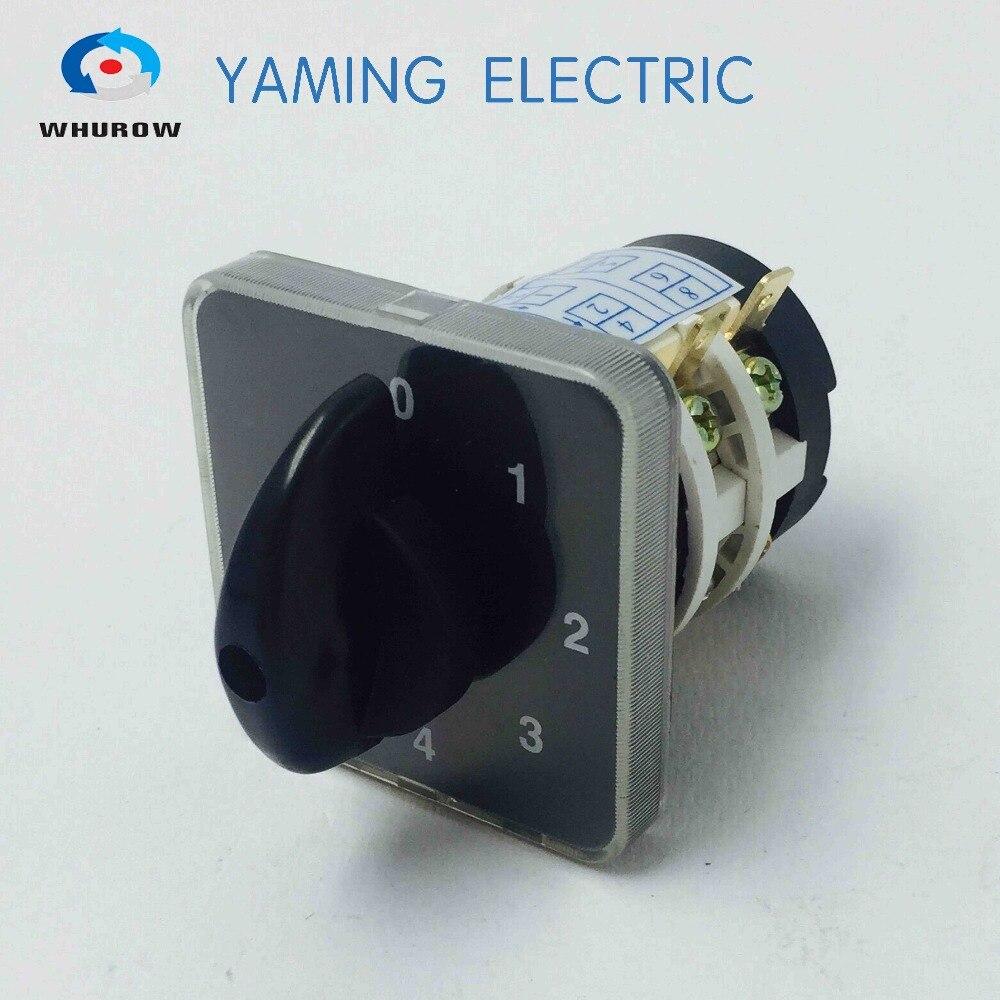 Envío gratis 1 Uds interruptor giratorio 0-4 en la posición 660V 20A 2 fases 8 terminales eléctricos cambio interruptor de cámara YMZ12-20/2