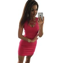 Summer Sexy Slim Women Dress Solid Color U -Neck Cross -Belt Dress Sleeveless Plus Size Package Hip Dress