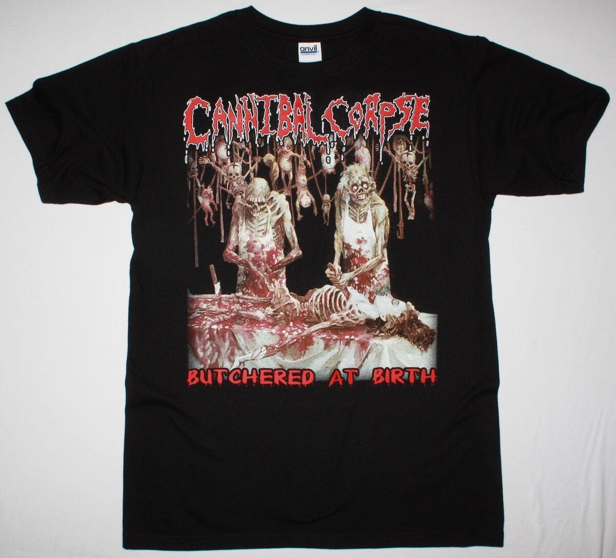 CANNIBAL body butched AT BIRTH 1991 DEATH METAL GRINDCORE nueva camiseta negra hombres marca impresa 100% algodón camiseta