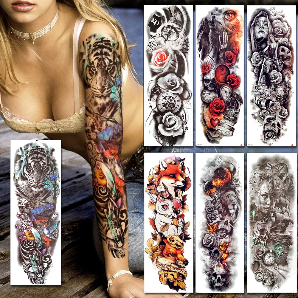 Tatuajes temporales de pierna de brazo completo falsos de transferencia de agua BAOFULI para Mujeres Hombres Tigre Henna tatuaje corporal Rosa artística pegatinas de tatuaje de flores