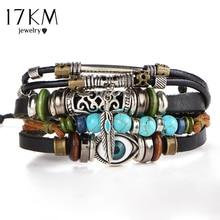 17KM Punk Design turc oeil Bracelets pour hommes femme nouvelle mode Bracelet femme hibou cuir Bracelet pierre Vintage bijoux