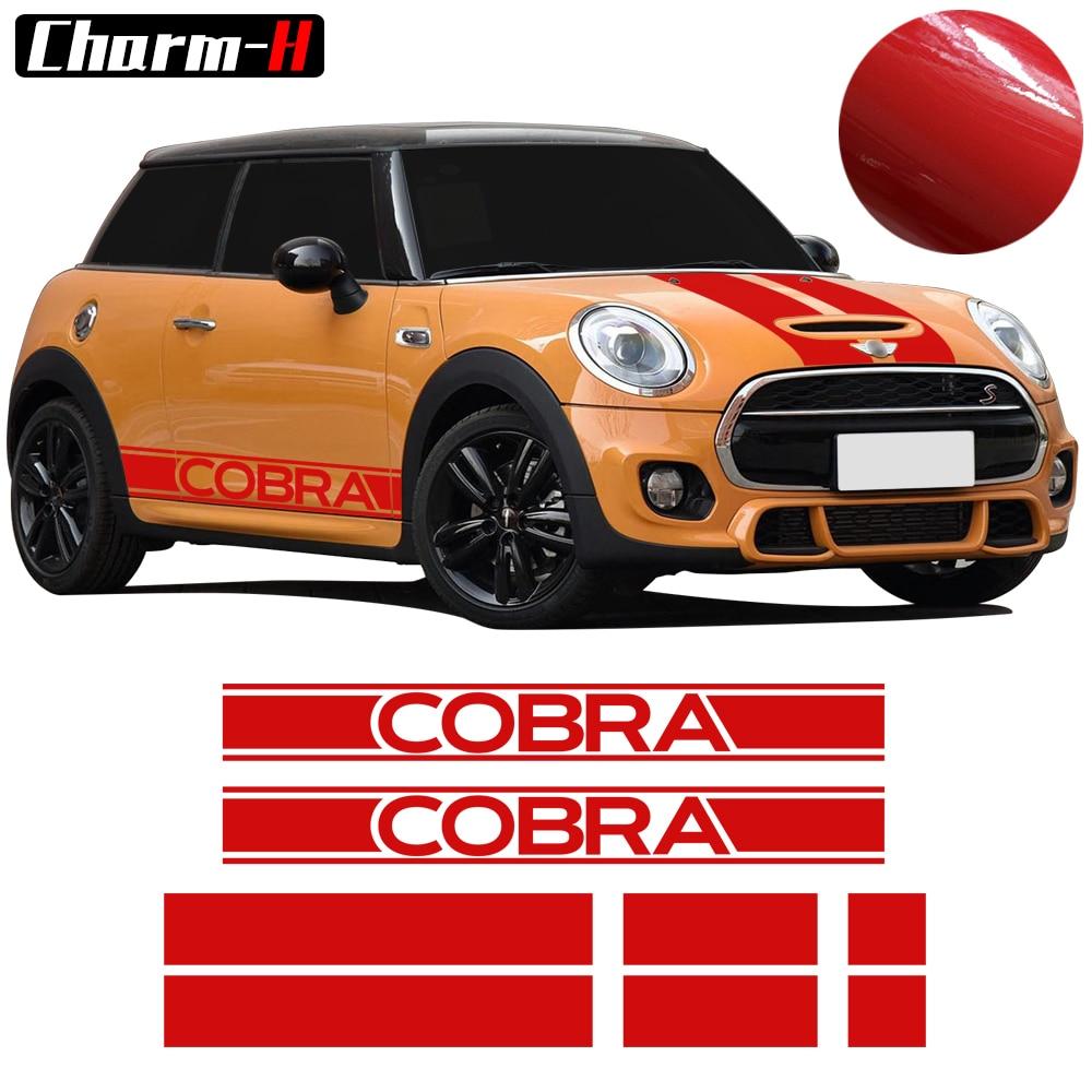 Capó, capó, maletero, falda lateral trasera, rayas de competición, pegatina de vinilo, pegatinas para Mini Cooper Cobra R50 R53 R56 F56, 3 puertas, Hatchback