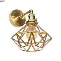 IWHD נורדי סגנון זכוכית LED פמוט קיר אור מתג מראה בחדר אמבטיה בציר נחושת קיר מנורת שינה Wandlamp Aplique לוז Pared
