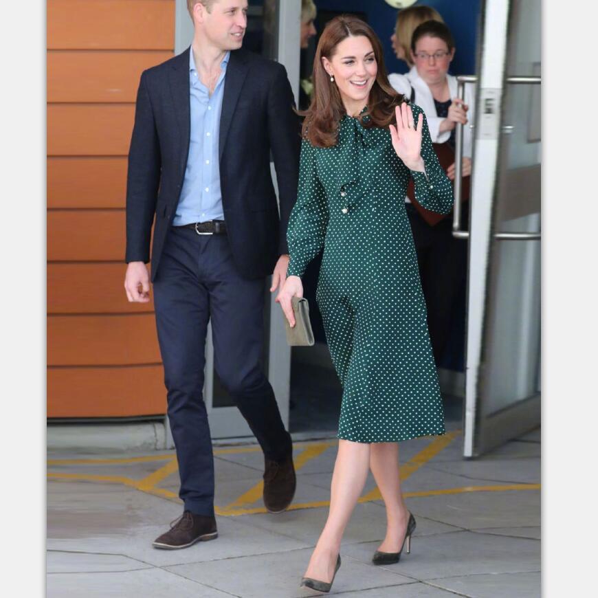 Платье принцессы Kate midleton, элегантные платья в горошек с длинным рукавом и бантом на весну 2019, одежда для работы, NP0233J