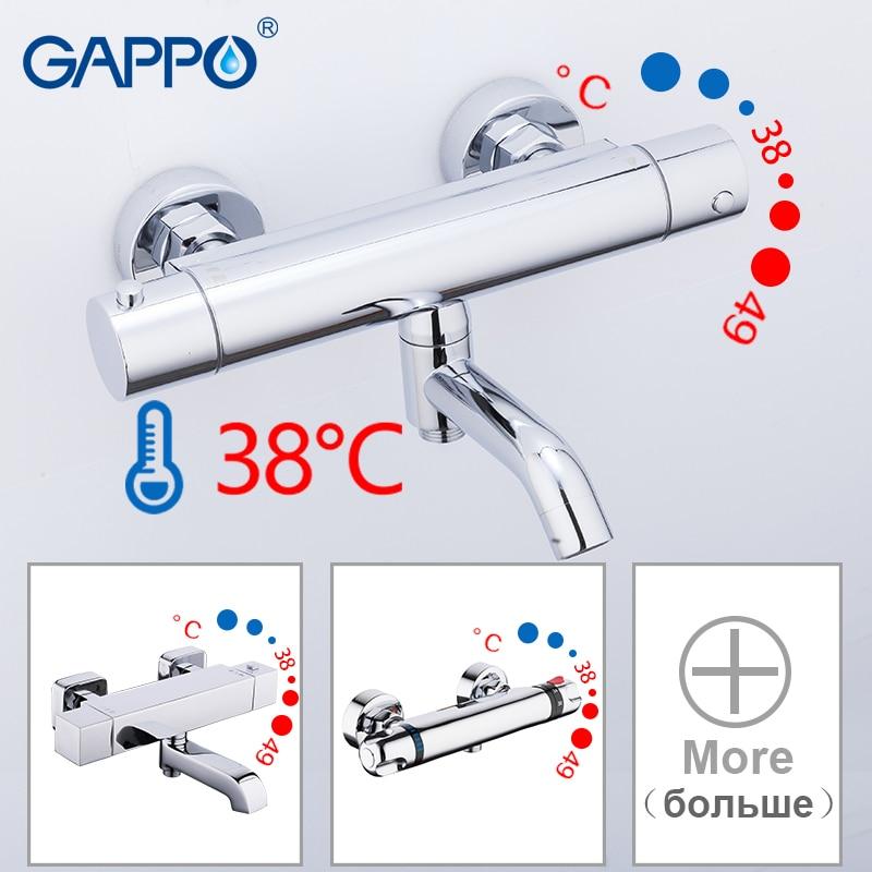 GAPPO-حنفيات حوض الاستحمام ، مع رأس دش ثرموستاتي ، للحمام الرئيسي