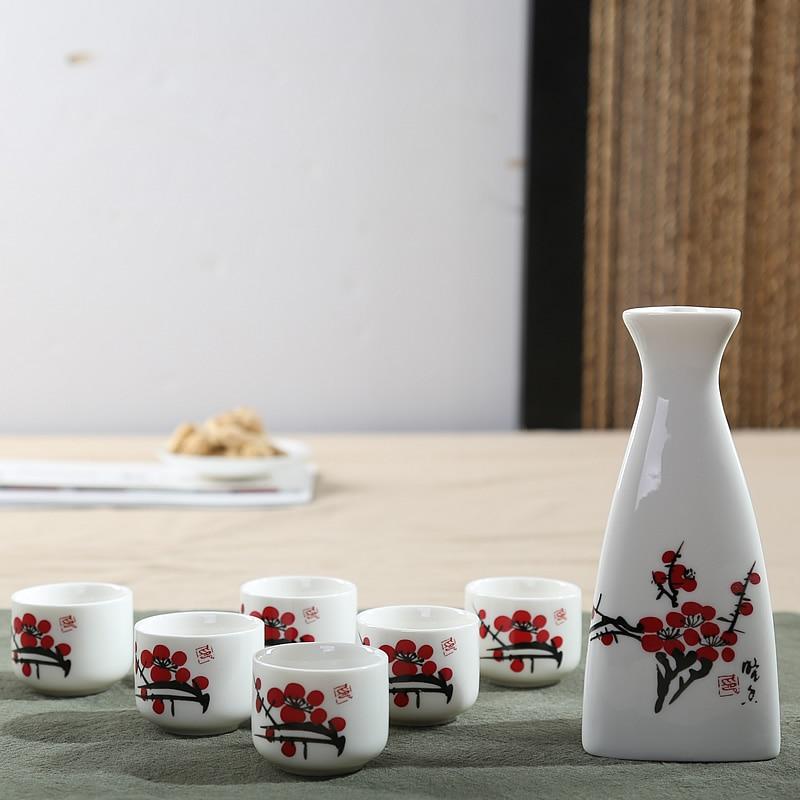 7Pcs/set Ceramics Japanese Sake Pot Cups Set Home Kitchen Flagon Liquor Cup Drinkware Vintage Spirits Hip Flasks Creative Gifts