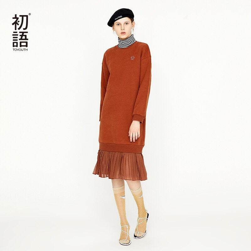 Toyouth Autumn O Neck Loose Skater Sweatshirt Dress Casual Knee-Length Long Sleeve Elegant Female Pullovers Dress
