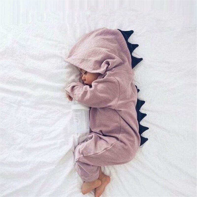 Peleles de Otoño de manga larga para bebé recién nacido, traje de dinosaurio para niña, pelele, pelele, ropa de bebé con capucha, ropa bonita