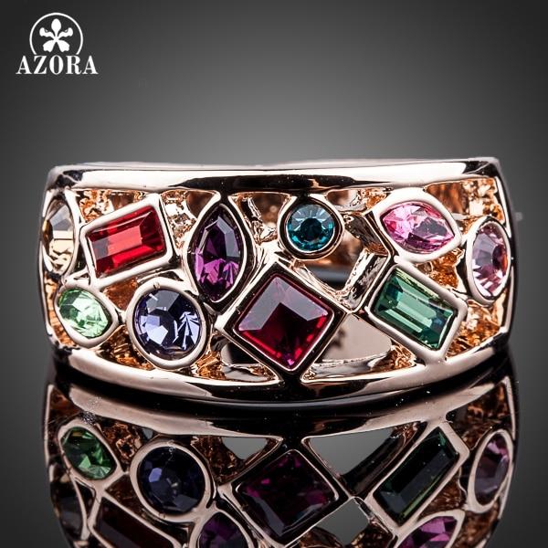 AZORA Rose Gold Color Multicolour Stellux Austrian Crystal Ring TR0097