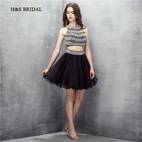 hs bridal above knee short cocktail party gowns blue tulle black pearls beaded two pieces girls graduation homecoming dresses