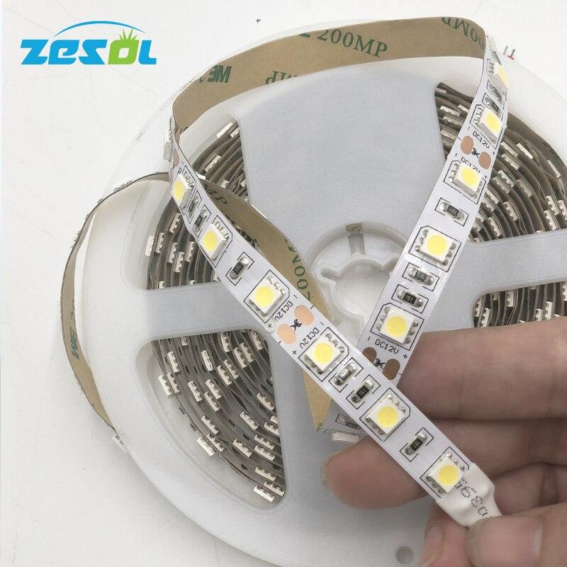 Alta calidad ver imagen muestra tira LED 5050 DC12V 60 LEDs/m 5 m/lote luz LED Flexible RGB cálido corte blanco según las necesidades del cliente