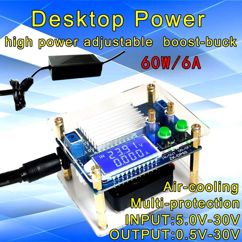 Автоматический повышающий/понижающий преобразователь постоянного тока, модуль питания CC CV 0,5-30 в 6 А 60 Вт, Регулируемый источник питания, вольтметр, амперметр