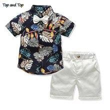 Ensemble de vêtements dété pour enfants, haut et haut, chemise imprimée et Short, tenue 2 pièces pour garçons et garçons