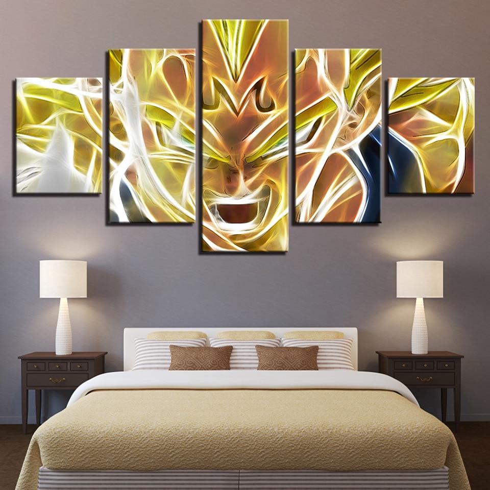 Póster de lienzo impreso en HD para decoración del hogar, 5 paneles de personajes de Dragonball, Marcos modulares de cuadros de salón