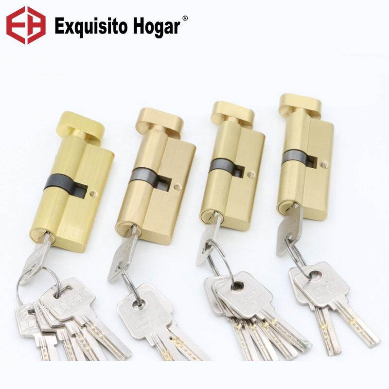 Door Hardware Security 70 75MM Gold Cylinder  Interior Room Door Lock Tongue Pressure Lock Handle Lock Key Brass Copper Lock