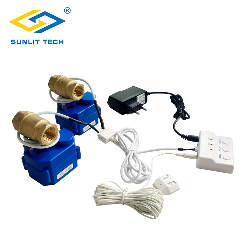 Cozinha sistema de alarme de vazamento de água com 2 pces dn15 guindaste de cobre desligamento automático se vazamento de água casa inteligente detector