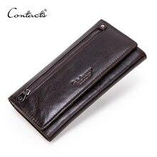 CONTACT'Sของแท้หนังผู้ชายยาวกระเป๋าสตางค์ซิปกระเป๋าสตางค์ขนาดใหญ่คลัทช์ชายกระเป๋าสตางค์สำหร...