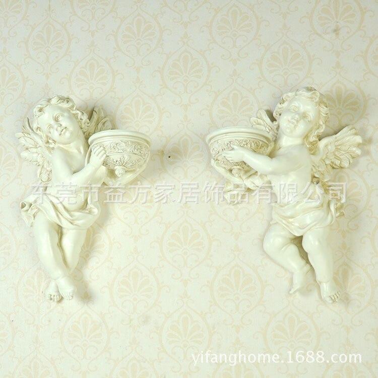 Ogród w stylu europejskim żywicy anioł lalka retro ściany urządzone w delikatnych kolorach i proces montażu świecznik hurtownie Taobao hot