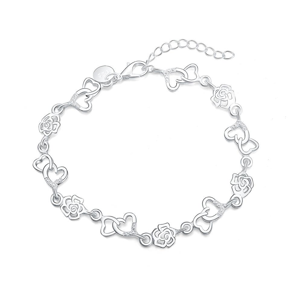 new LH009 rose hot gift Beautiful fashion Elegant silver colorcharm Bracelet cute nice women Men bra