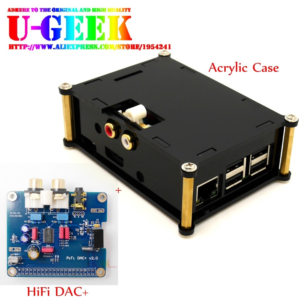 UGEEK AOIDE Raspberry Pi I2S интерфейс HIFI DAC + модуль звуковой аудиокарты + черный акриловый чехол для Raspberry PI 3B +/3B/2B/B + aluminium case and ugeek aoide digi pro work with raspberry pi 4 model b 4b diy your hifi player build with raspberry pi