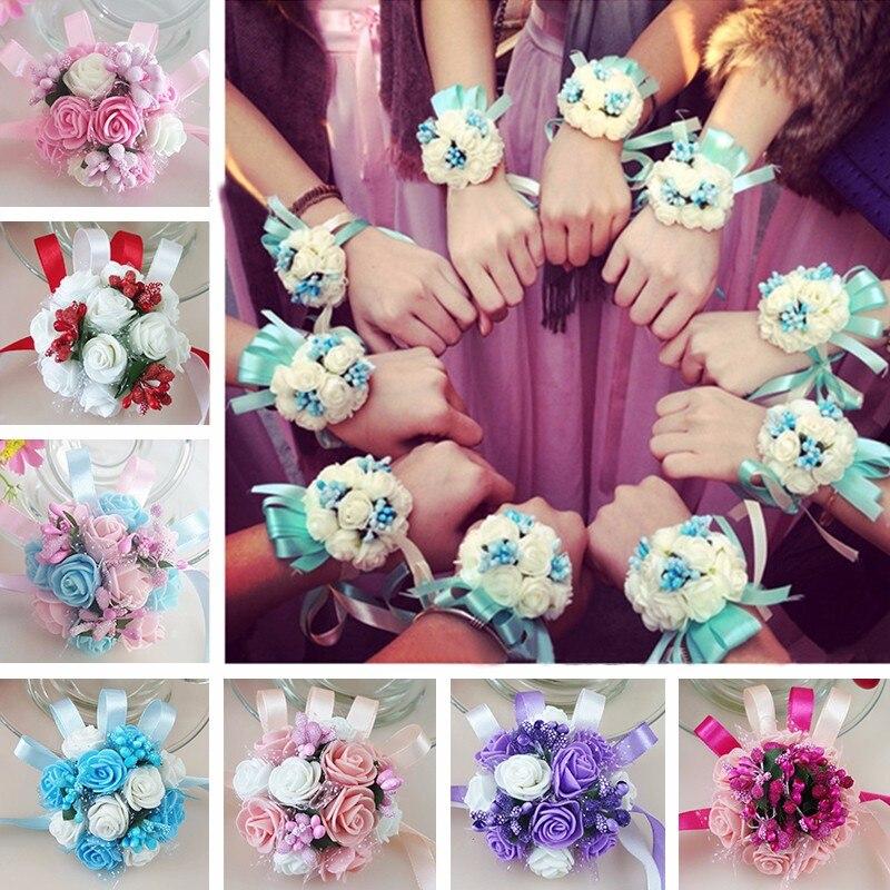 Fleurs artificielles poignet de demoiselle dhonneur   Fleurs à main pour fête de bal de mariage pour filles, accessoires en fournitures