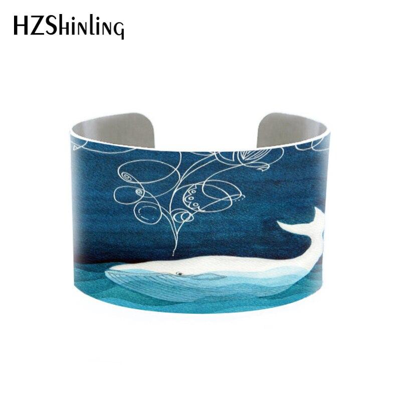 Hzshinling veleiro manguito de alumínio oceano pintura aguarela original pulseira azul decoração da parede artesanal jóias berçário arte