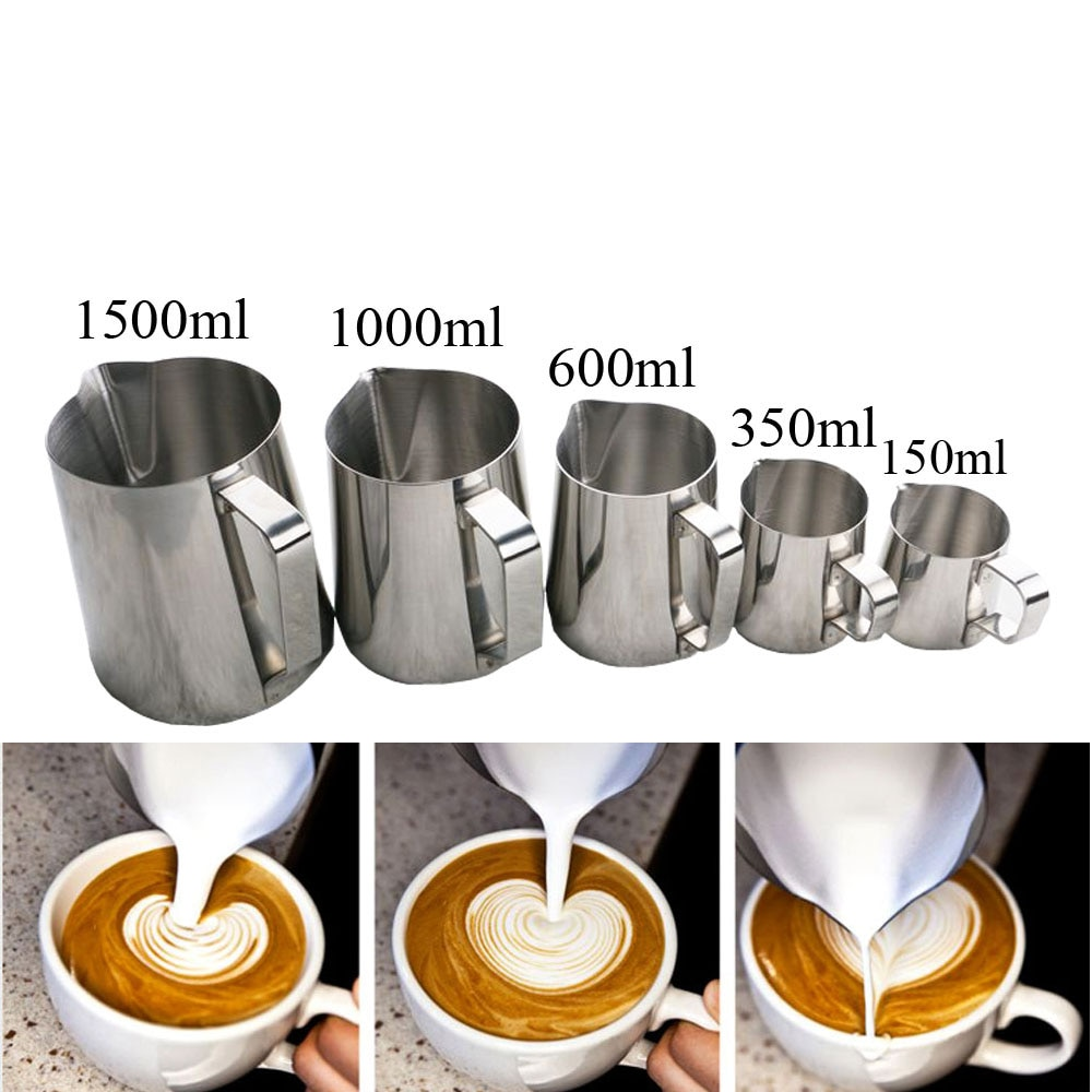 150/350/600/1000/1500ML taza de café de flores de acero inoxidable capuchino crema de leche taza de espuma jarra de espuma de leche termo Latte Art