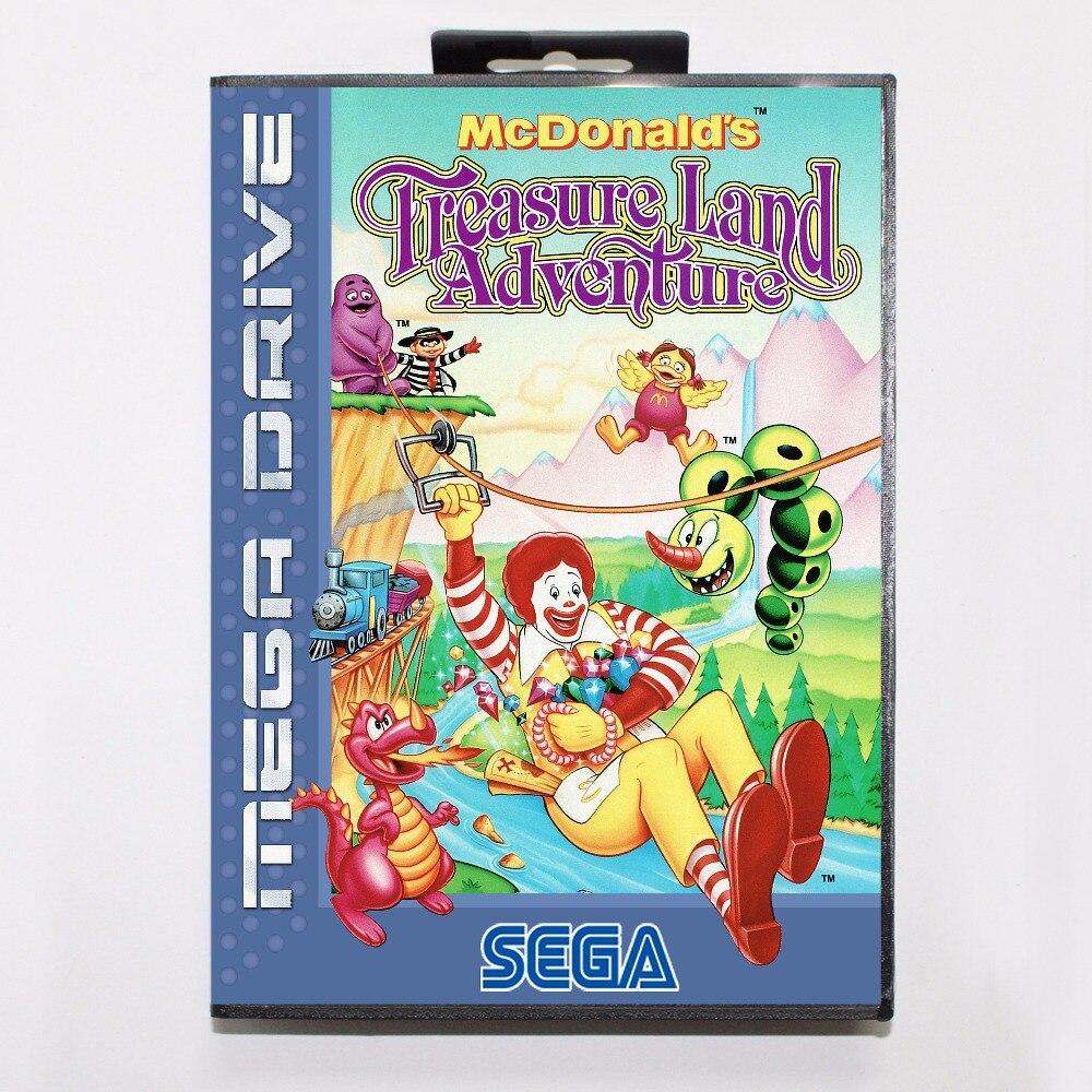 Cartucho de juego de aventura del Tesoro de McDonalds, tarjeta de juego MD de 16 bits con caja al por menor para Sega Mega Drive para Genesis