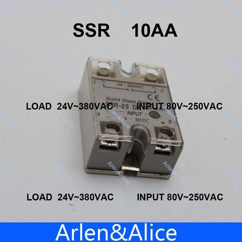 10AA SSR entrada 80-250V carga de CA 24-380V AC relé monofásico de estado sólido de CA