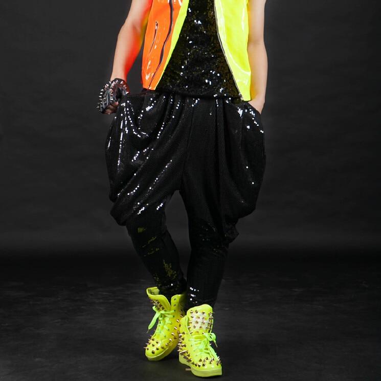 2017 primavera otoño bombachos grandes baile de Hip Hop pantalones DS trajes etapa drop punk pantalones bombachos sueltos de lentejuelas