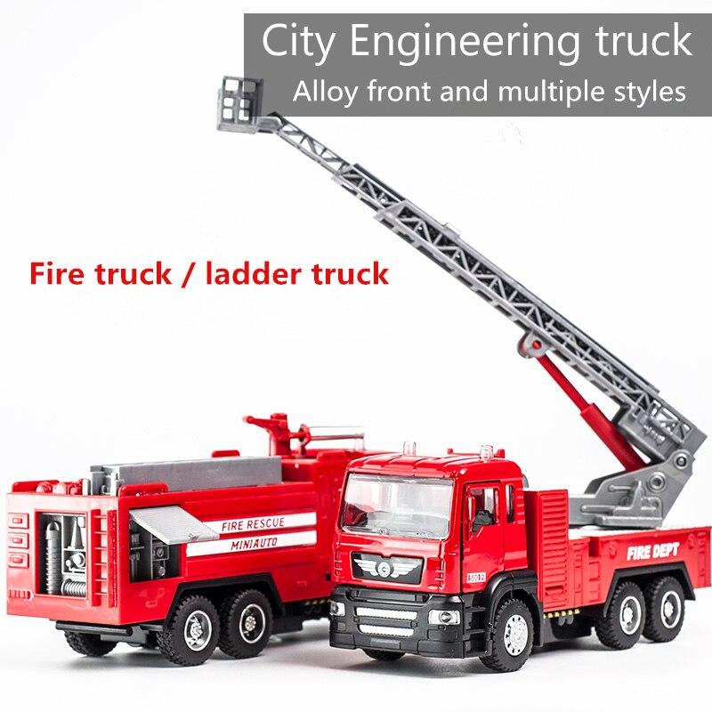 Vehículo de juguete modelo 150 de aleación fundido a presión para construcción, camión de bomberos, transporte de ambulancia, coche de juguete regalo niños
