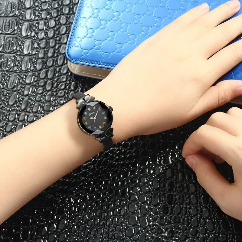Colorful Crystal Top Julius Lady Women's Watch MIYOTA Cute Knot Fashion Hours Real Leather Bracelet Children Girl's Gift enlarge