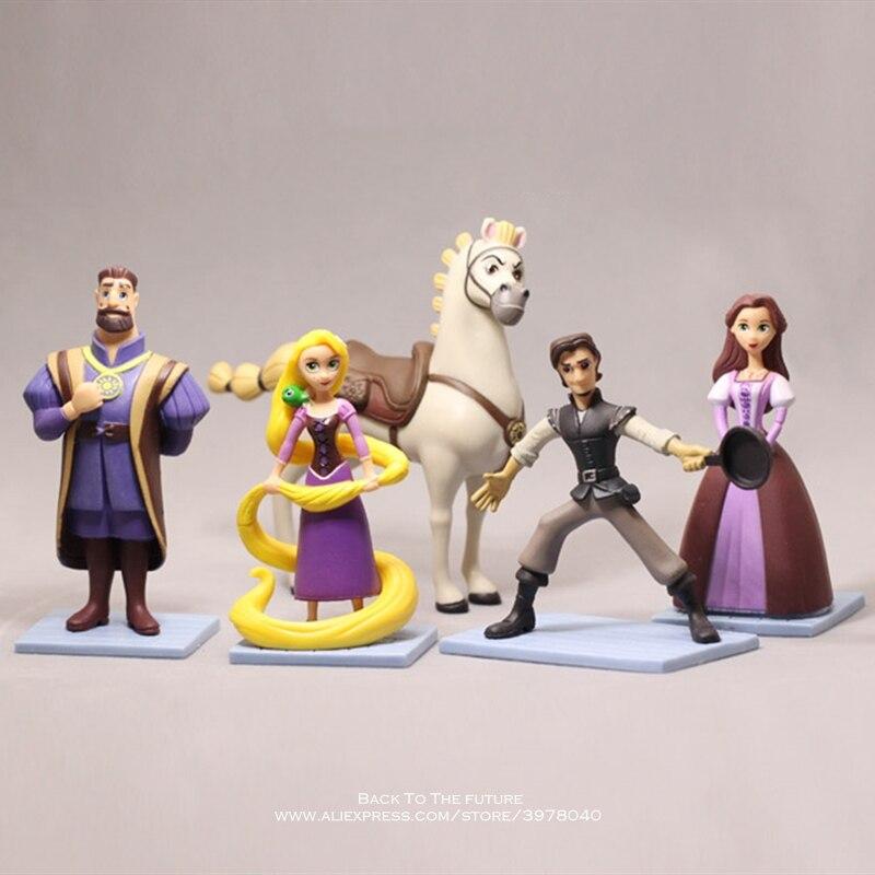 Disney Rapunzel princesa dibujos animados 5 unids/set 9-11cm mini muñeco de acción figura Anime minicolección figurita juguete modelo para niños