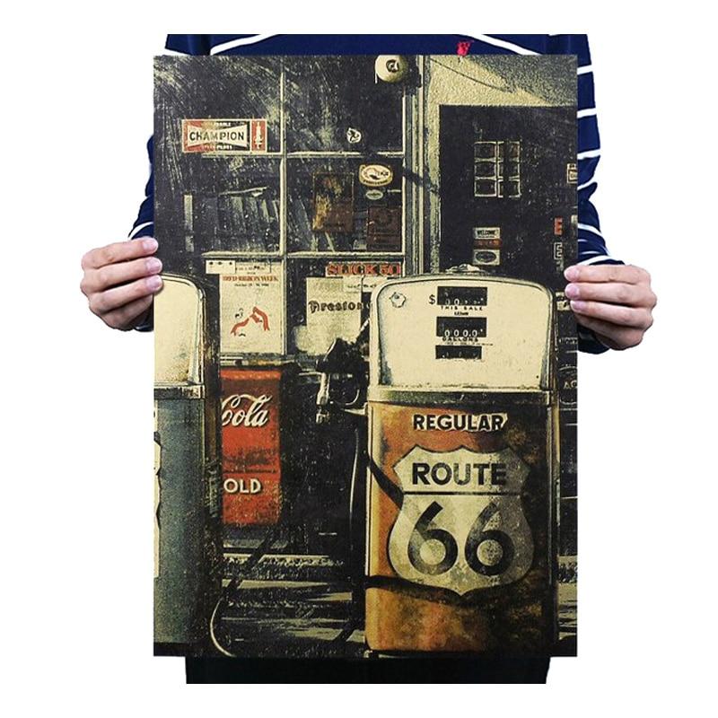 Benzin Gas Station 66 Decor Vintage Kraft Papier Classic Movie Poster Karte Schule Wand Büro Dekoration Kunst Retro Drucke