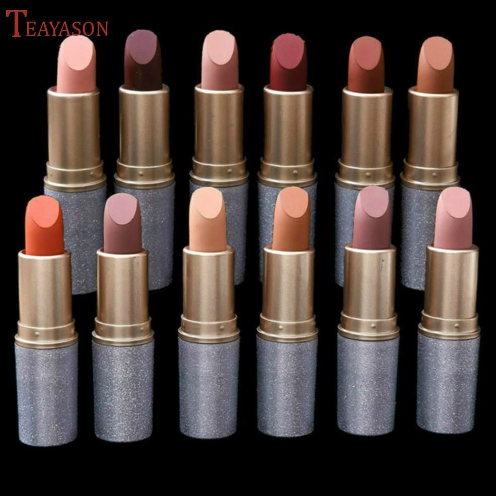 2019 nuevo brillo de labios 12 colores Nude Mate lápiz labial líquido Mate impermeable de larga duración brillo humectante labial maquillaje cosméticos