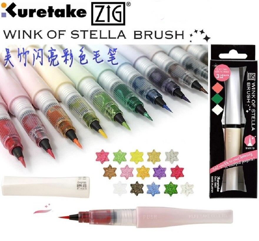 Kuretake original wink de stella que bling multicor macio caligrafia escova 10 cores/lote